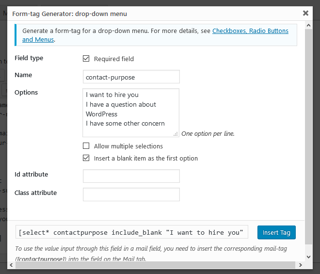 filled in form tag generator contact form 7
