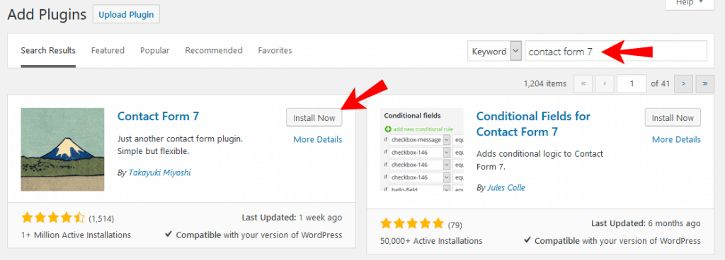 install contact form 7 to add contact form in wordpress