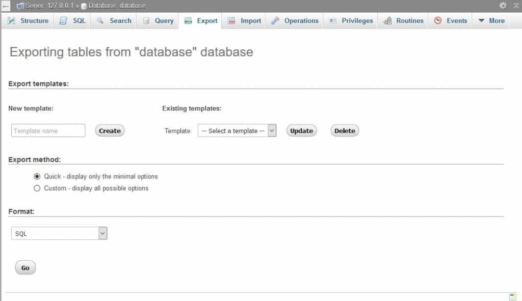 export database to switch web hosts