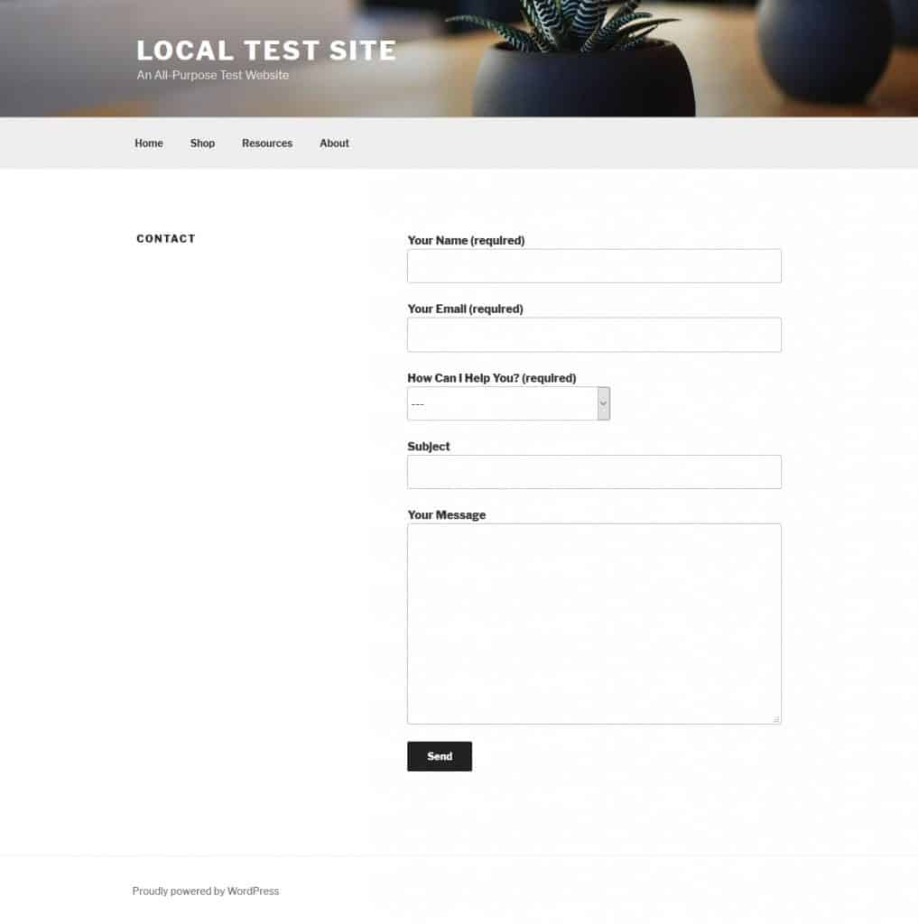 Contact form 7 form in page