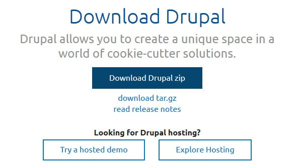 download drupal from official page