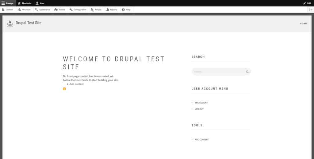 new drupal theme installed