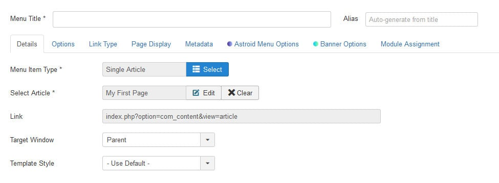 assign joomla page to menu