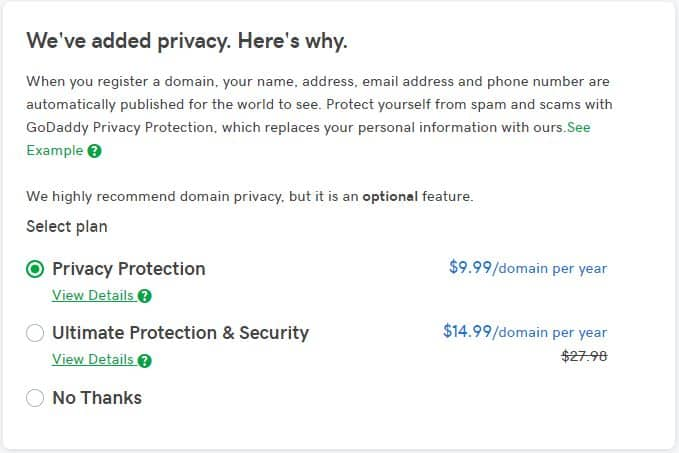 GoDaddy domain privacy protection