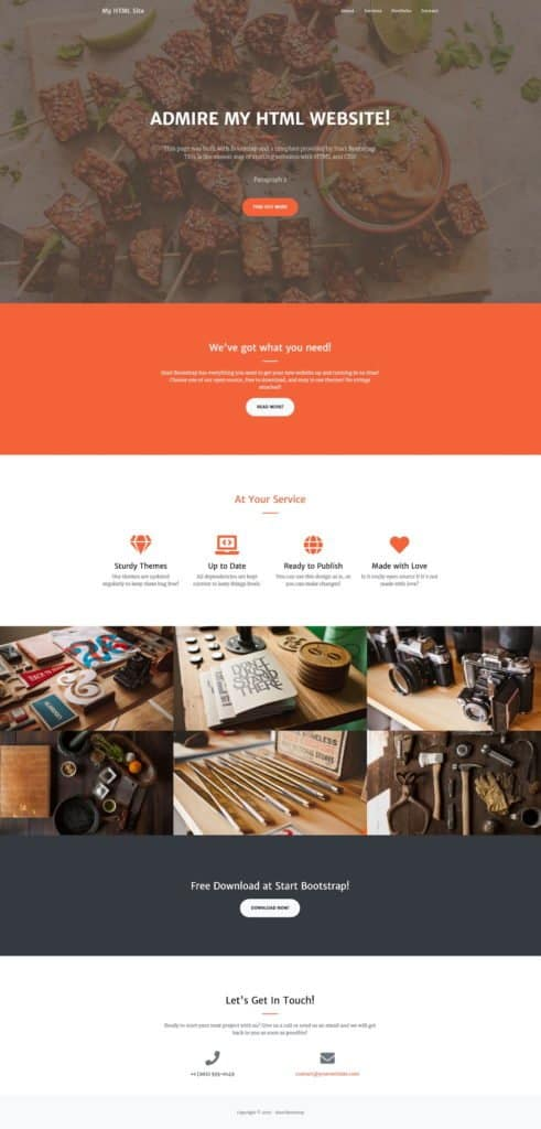 final homepage after creating a website with HTML and CSS