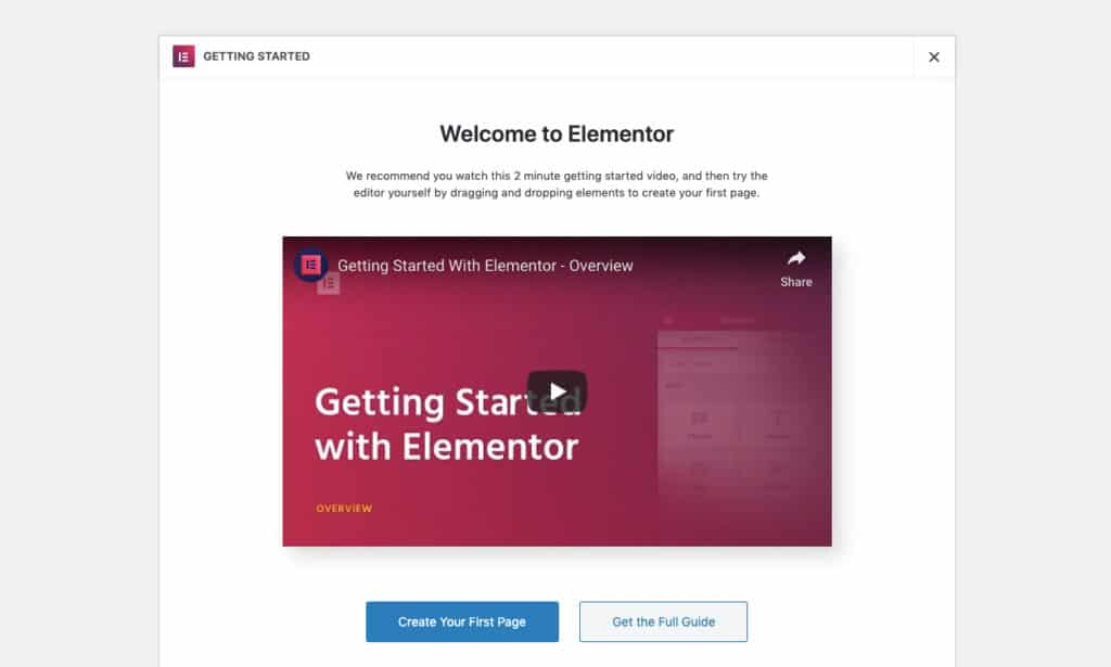 Elementor Getting Started