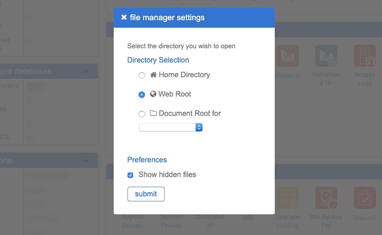 File Manager Settings
