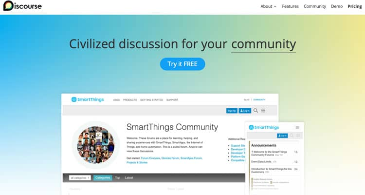 The Discourse website. It's one of the best free forum software.