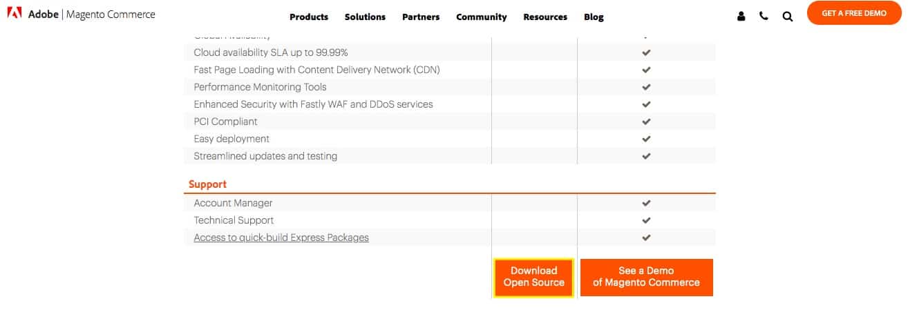 Magento products feature comparison chart.