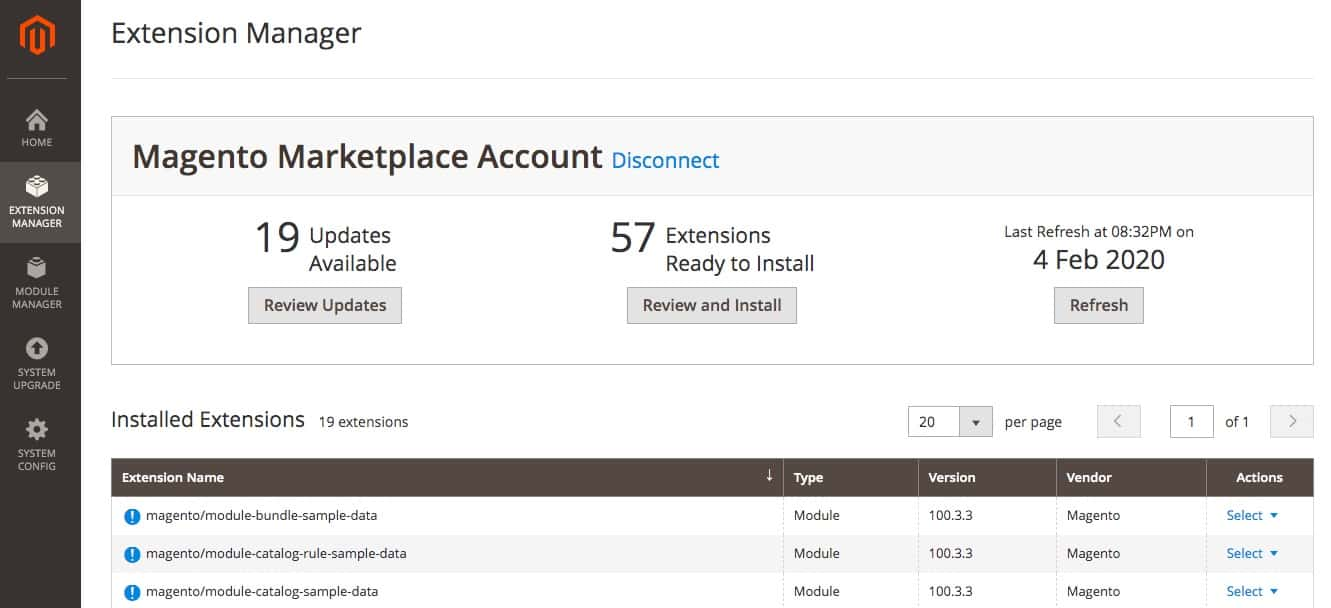 The Magento Extension Manager.