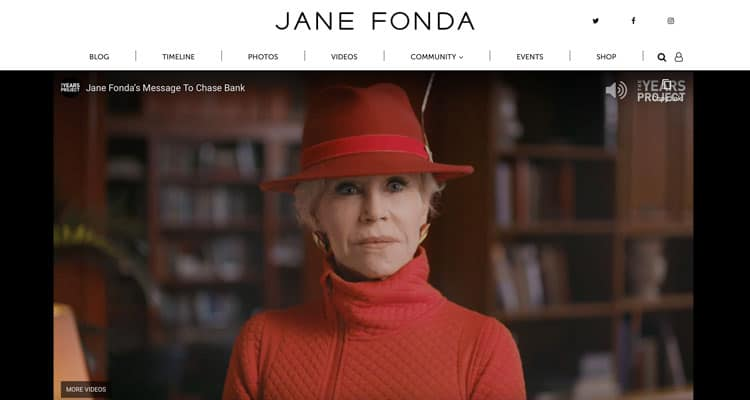 Other types of websites include personal websites like this example of Jane Fonda's site.