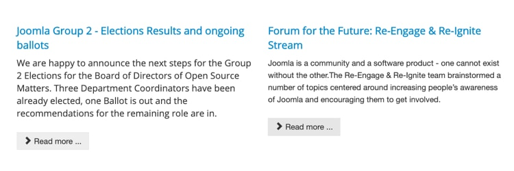 """Joomla website, showing two different stories, each with identical """"Read more"""" buttons"""