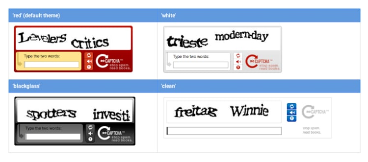 versions of reCAPTCHA with wobbly text that you must re-type