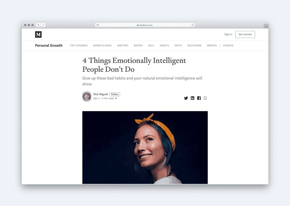Medium uses a single column layout to enhance the reading experience.