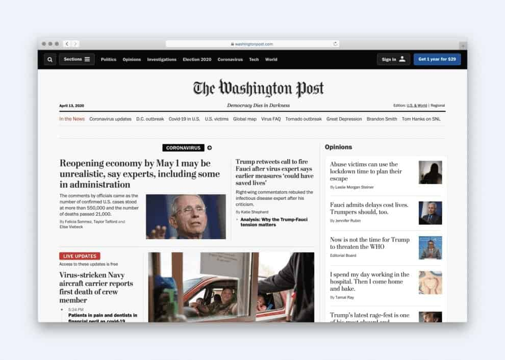 News websites tend to favour the magazine-style layout.