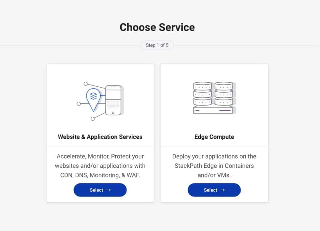 Selecting Stackpath Service