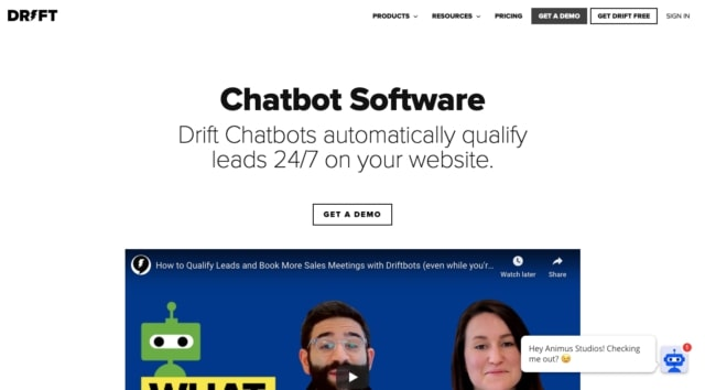 Drift automated chatbot assistant