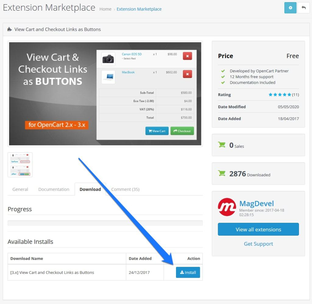 install opencart extension in back end