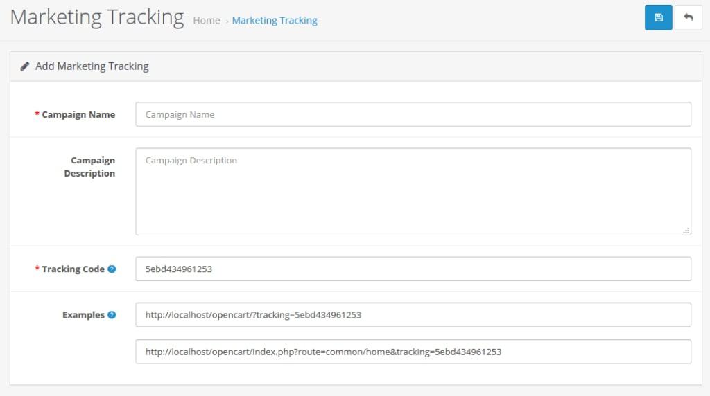 marketing tracking menu in opencart