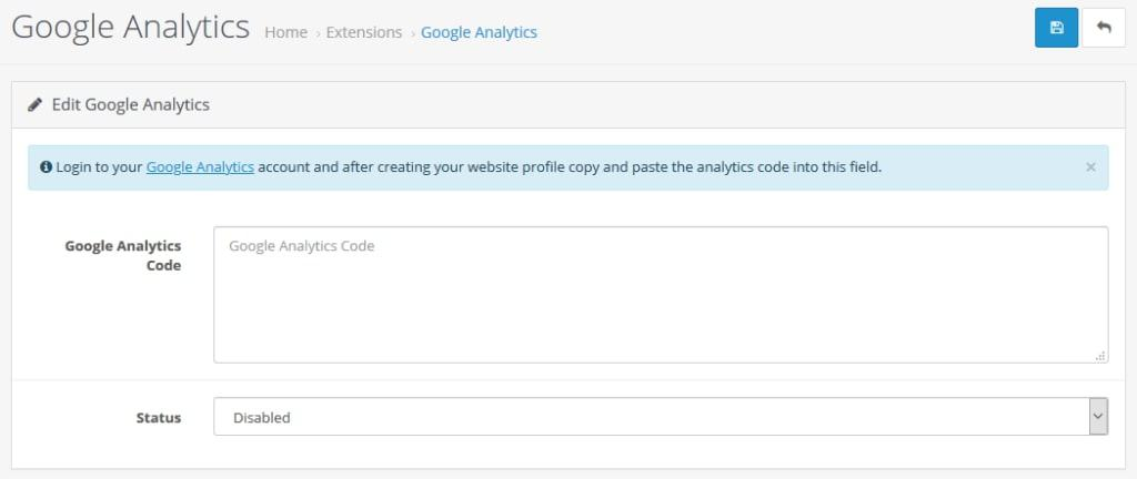 opencart google analytics module
