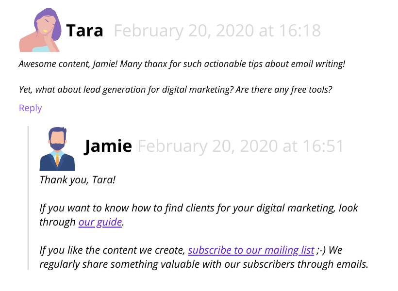Be active in blog posts (comments)