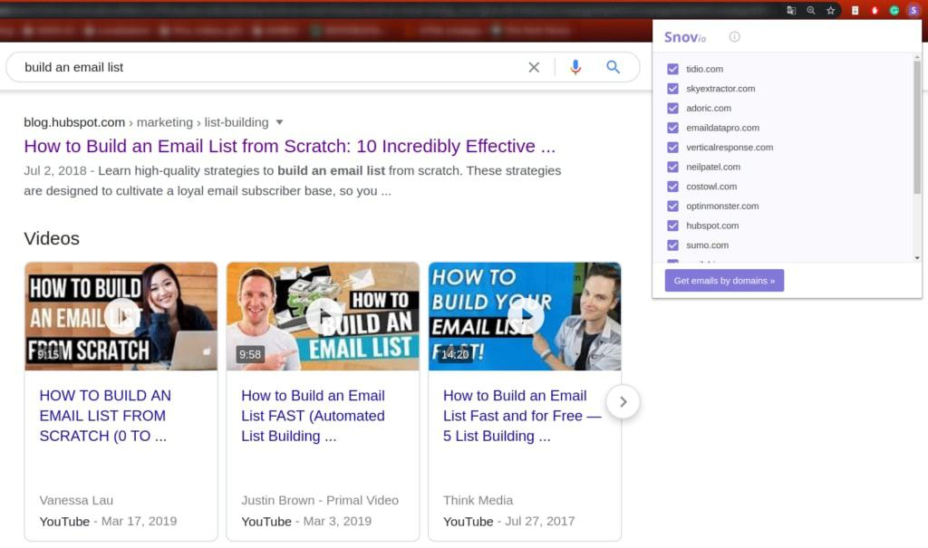 Find emails on search engine results page with Snovio