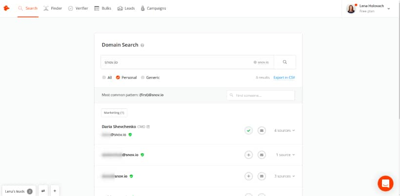 Find emails with Hunter.io