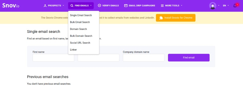 Find emails with Snov.io
