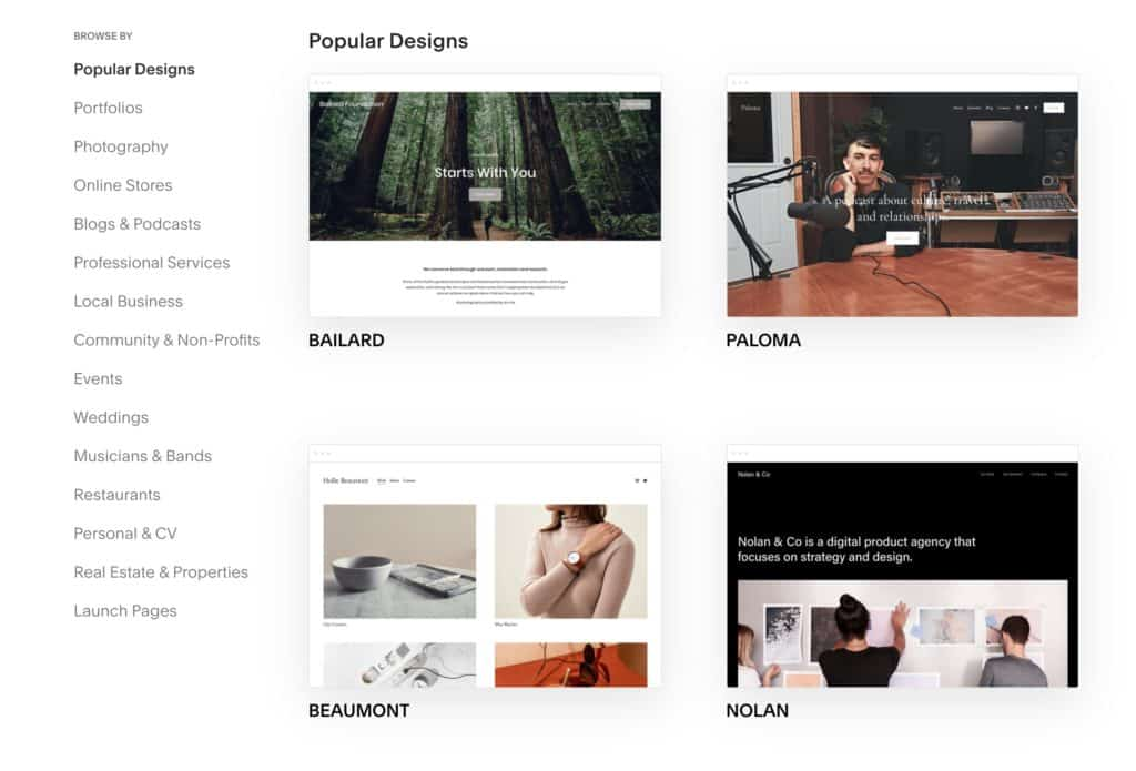 How to use Squarespace: pick a template
