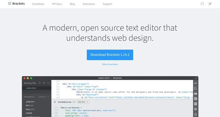 The website for the Brackets HTML editor.