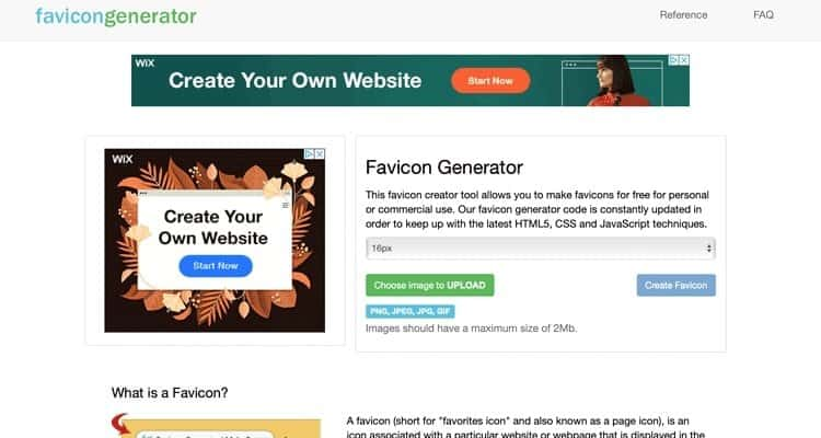A free favicon generator option.