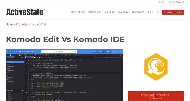 The Komodo Edit text editor for HTML website.