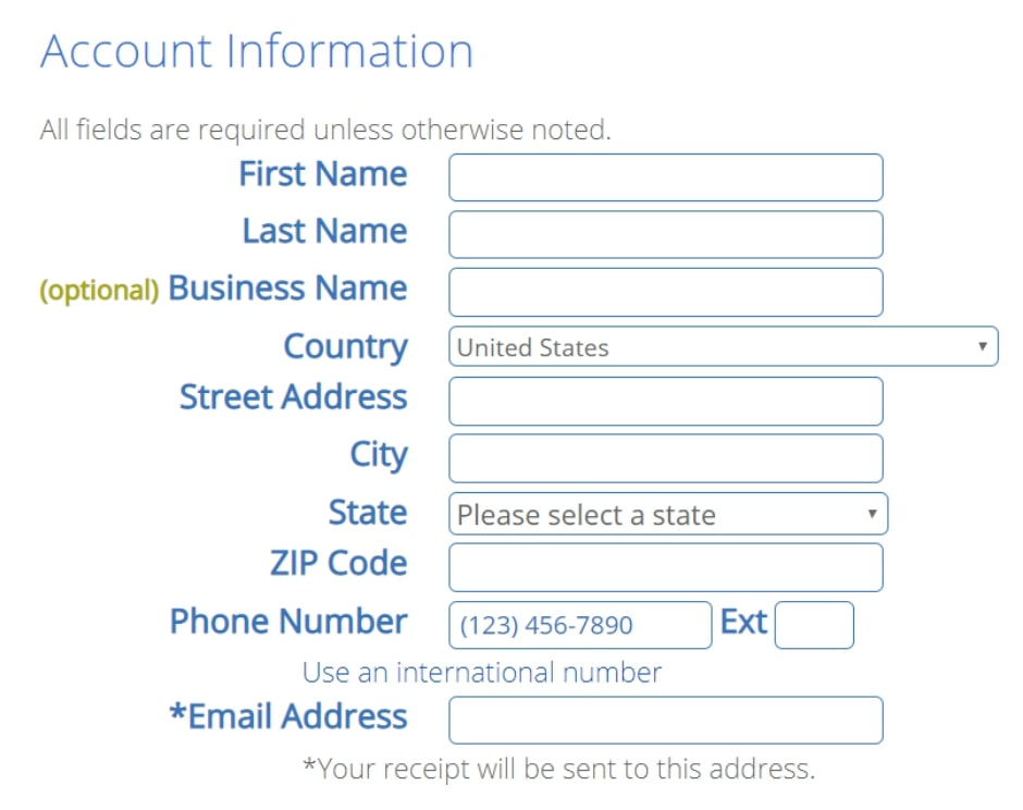 Bluehost personal information