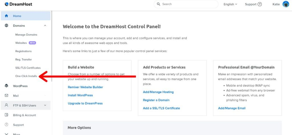 welcome to dreamhost control panel